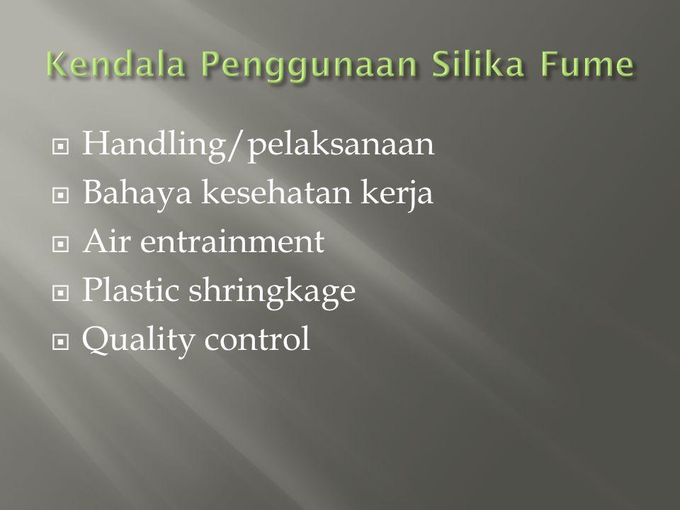  Handling/pelaksanaan  Bahaya kesehatan kerja  Air entrainment  Plastic shringkage  Quality control