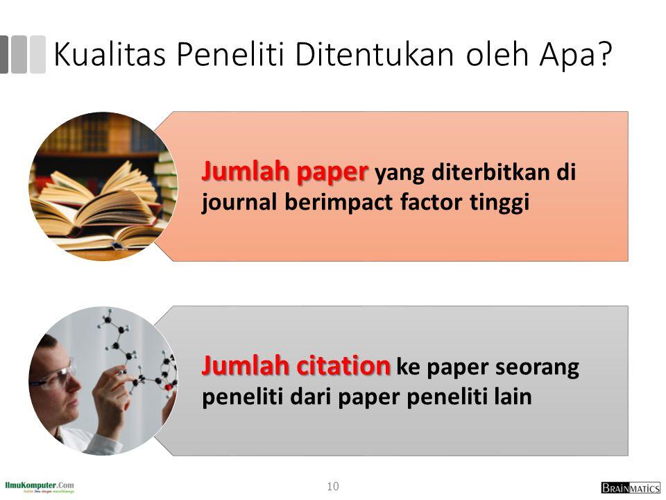 Kualitas Peneliti Ditentukan oleh Apa? 10 Jumlah paper yang diterbitkan di journal berimpact factor tinggi Jumlah citation ke paper seorang peneliti d