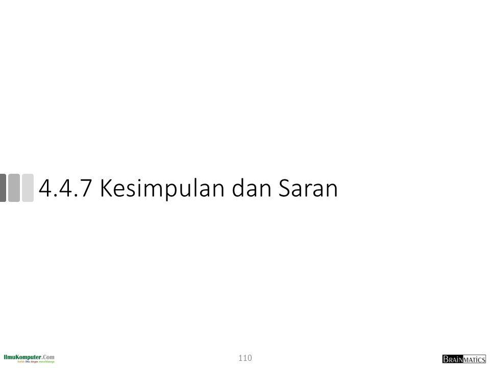 4.4.7 Kesimpulan dan Saran 110