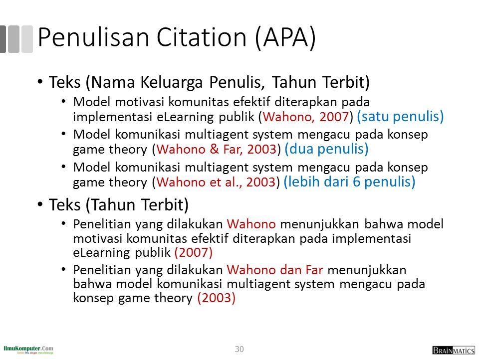 Penulisan Citation (APA) Teks (Nama Keluarga Penulis, Tahun Terbit) Model motivasi komunitas efektif diterapkan pada implementasi eLearning publik (Wa