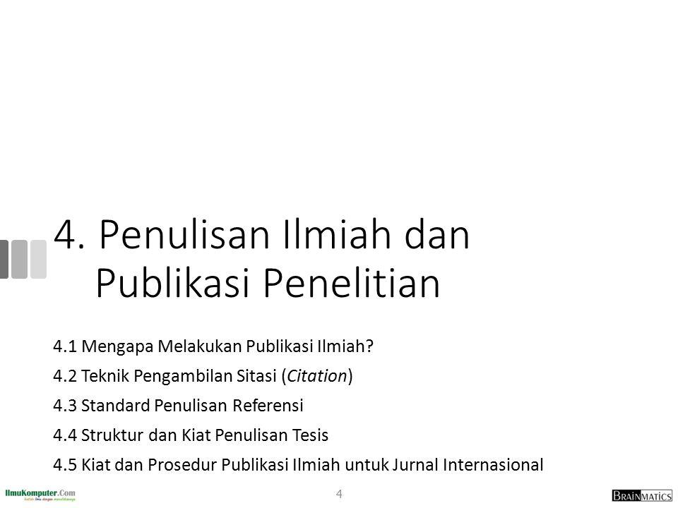 4. Penulisan Ilmiah dan Publikasi Penelitian 4.1 Mengapa Melakukan Publikasi Ilmiah? 4.2 Teknik Pengambilan Sitasi (Citation) 4.3 Standard Penulisan R