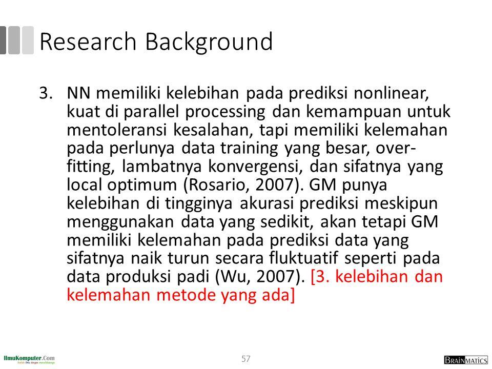 Research Background 3.NN memiliki kelebihan pada prediksi nonlinear, kuat di parallel processing dan kemampuan untuk mentoleransi kesalahan, tapi memi