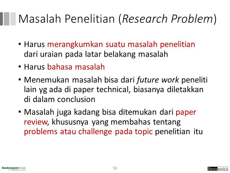 Masalah Penelitian (Research Problem) Harus merangkumkan suatu masalah penelitian dari uraian pada latar belakang masalah Harus bahasa masalah Menemuk