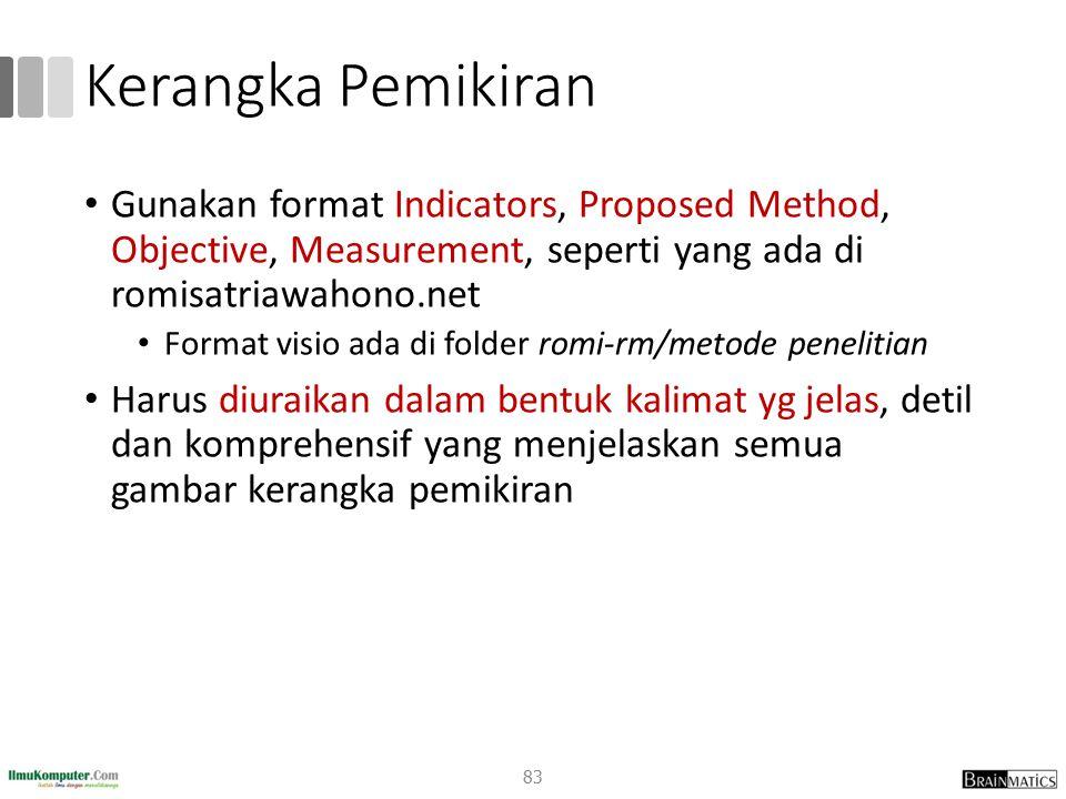 Kerangka Pemikiran Gunakan format Indicators, Proposed Method, Objective, Measurement, seperti yang ada di romisatriawahono.net Format visio ada di fo