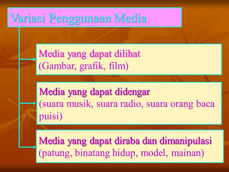 Media yang dapat dilihat (Gambar, grafik, film) Variasi Penggunaan Media Variasi Penggunaan Media Media yang dapat didengar (suara musik, suara radio,
