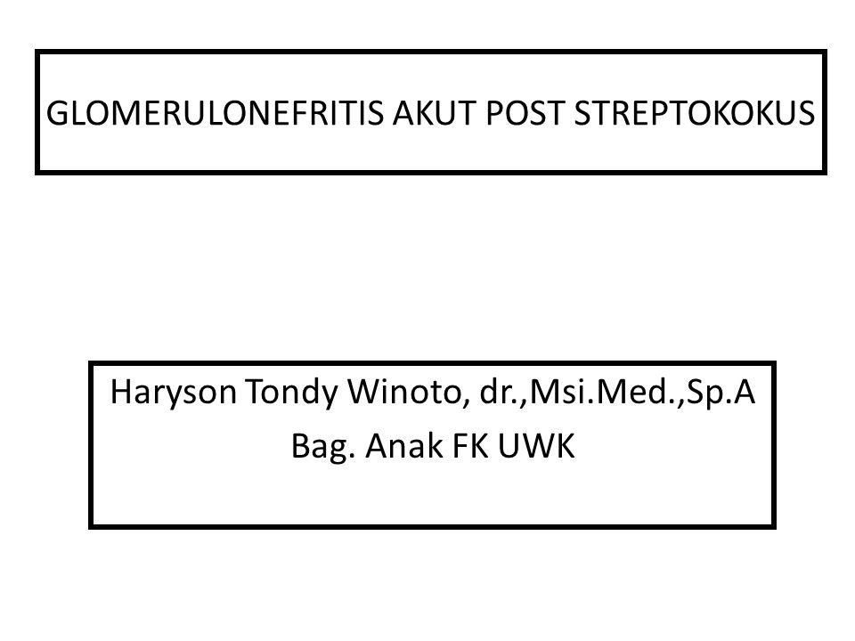 GLOMERULONEFRITIS AKUT POST STREPTOKOKUS Haryson Tondy Winoto, dr.,Msi.Med.,Sp.A Bag. Anak FK UWK