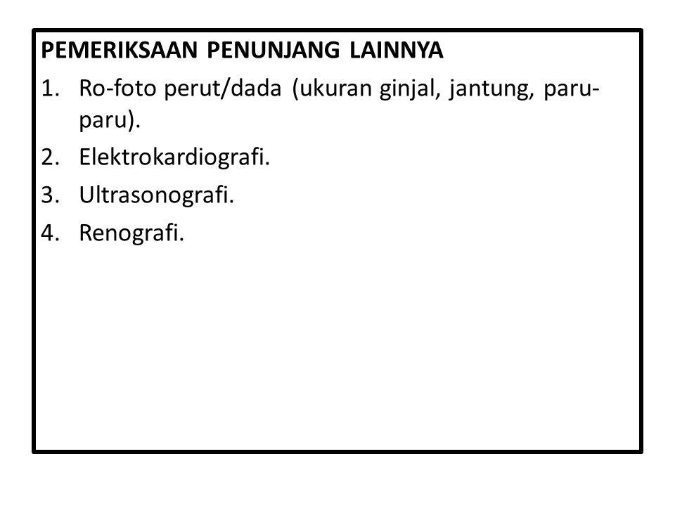 PEMERIKSAAN PENUNJANG LAINNYA 1.Ro-foto perut/dada (ukuran ginjal, jantung, paru- paru). 2.Elektrokardiografi. 3.Ultrasonografi. 4.Renografi.