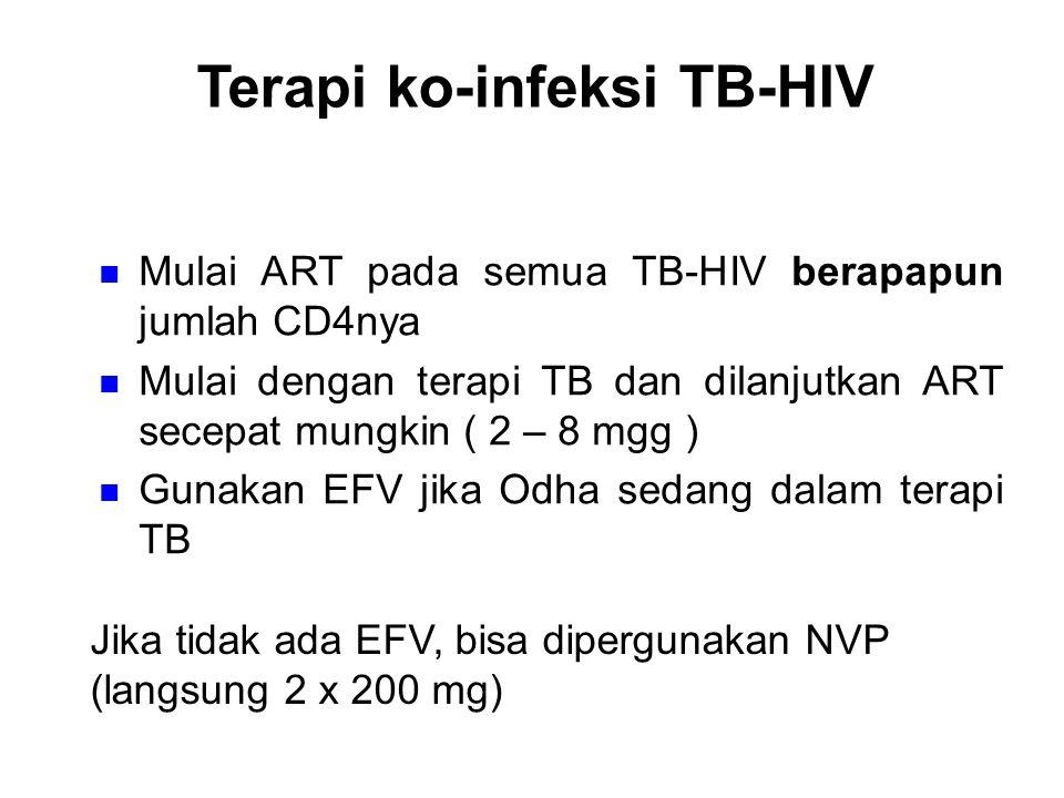 Terapi ko-infeksi TB-HIV Mulai ART pada semua TB-HIV berapapun jumlah CD4nya Mulai dengan terapi TB dan dilanjutkan ART secepat mungkin ( 2 – 8 mgg )