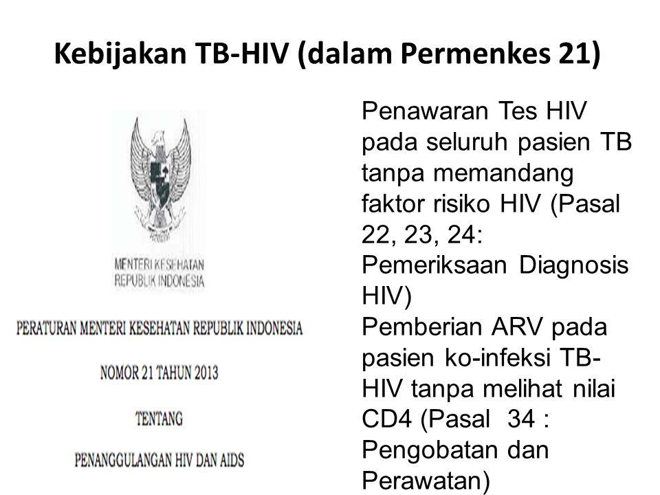 Kebijakan TB-HIV (dalam Permenkes 21)  Penawaran Tes HIV pada seluruh pasien TB tanpa memandang faktor risiko HIV (Pasal 22, 23, 24: Pemeriksaan Diag