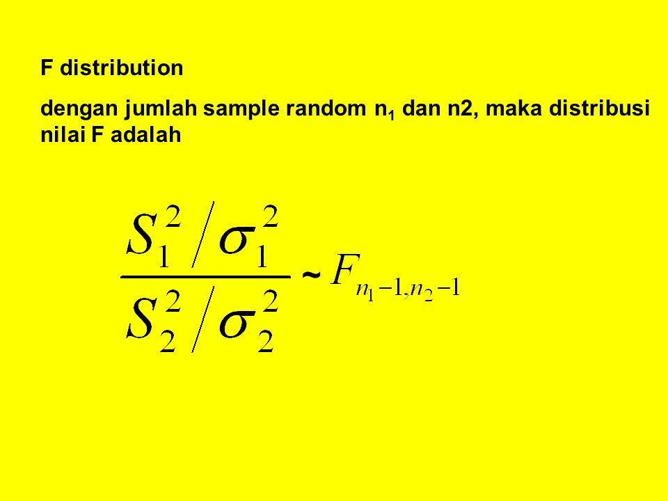F distribution dengan jumlah sample random n 1 dan n2, maka distribusi nilai F adalah ~