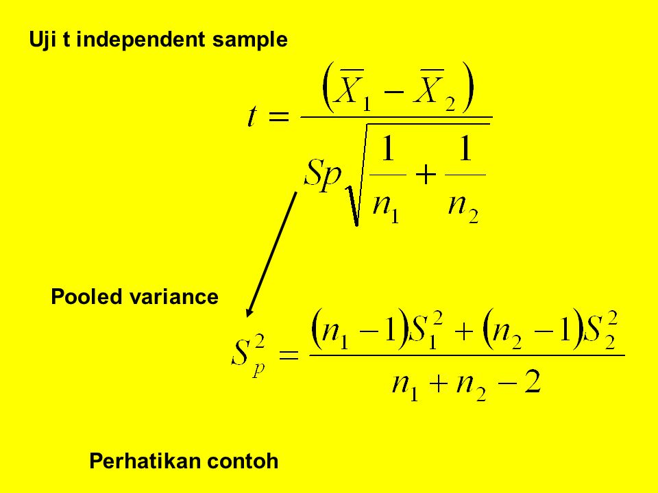 Uji t independent sample Pooled variance Perhatikan contoh