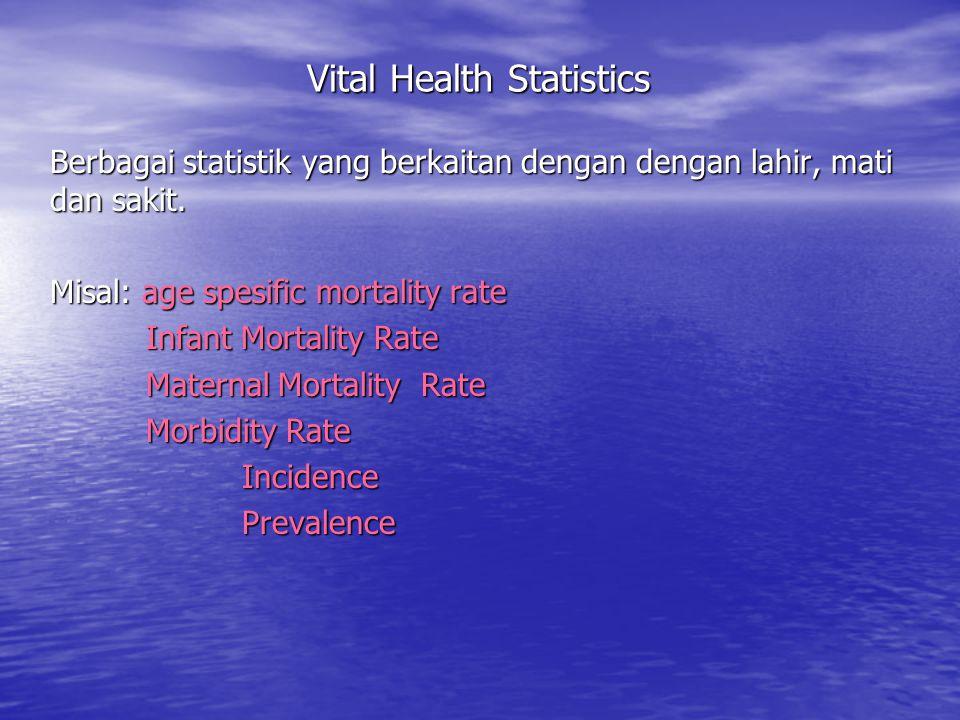 Vital Health Statistics Berbagai statistik yang berkaitan dengan dengan lahir, mati dan sakit. Misal: age spesific mortality rate Infant Mortality Rat