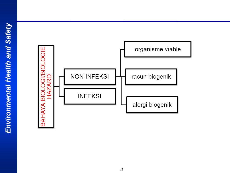 Environmental Health and Safety 3 BAHAYA BIOLOGI/BIOLOGIE HAZARD NON INFEKSI organisme viable racun biogenik alergi biogenik INFEKSI
