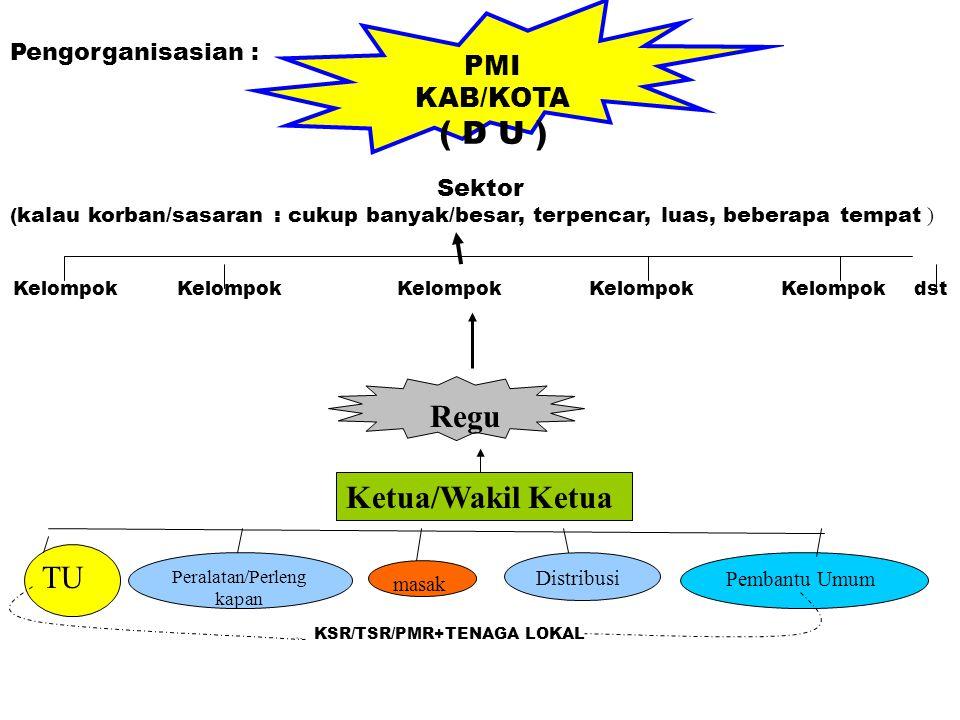 PMI KAB/KOTA ( D U ) Pengorganisasian : Regu Ketua/Wakil Ketua Peralatan/Perleng kapan masak Distribusi Pembantu Umum Kelompok KelompokKelompokKelompo