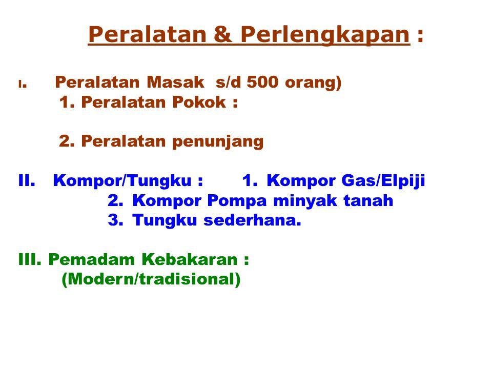 Peralatan & Perlengkapan : I. Peralatan Masak s/d 500 orang) 1. Peralatan Pokok : 2. Peralatan penunjang II. Kompor/Tungku : 1. Kompor Gas/Elpiji 2. K
