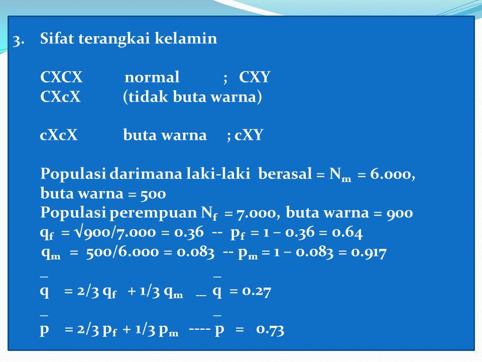 3. Sifat terangkai kelamin CXCX normal ; CXY CXcX (tidak buta warna) cXcX buta warna ; cXY Populasi darimana laki-laki berasal = N m = 6.000, buta war