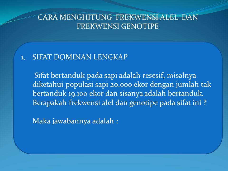 Frekwensi Fenotipe Frekwensi Genotipe Frek.