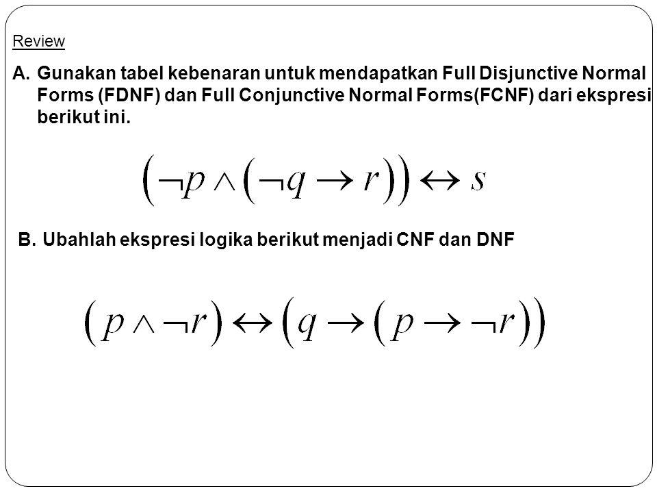 Review A.Gunakan tabel kebenaran untuk mendapatkan Full Disjunctive Normal Forms (FDNF) dan Full Conjunctive Normal Forms(FCNF) dari ekspresi berikut