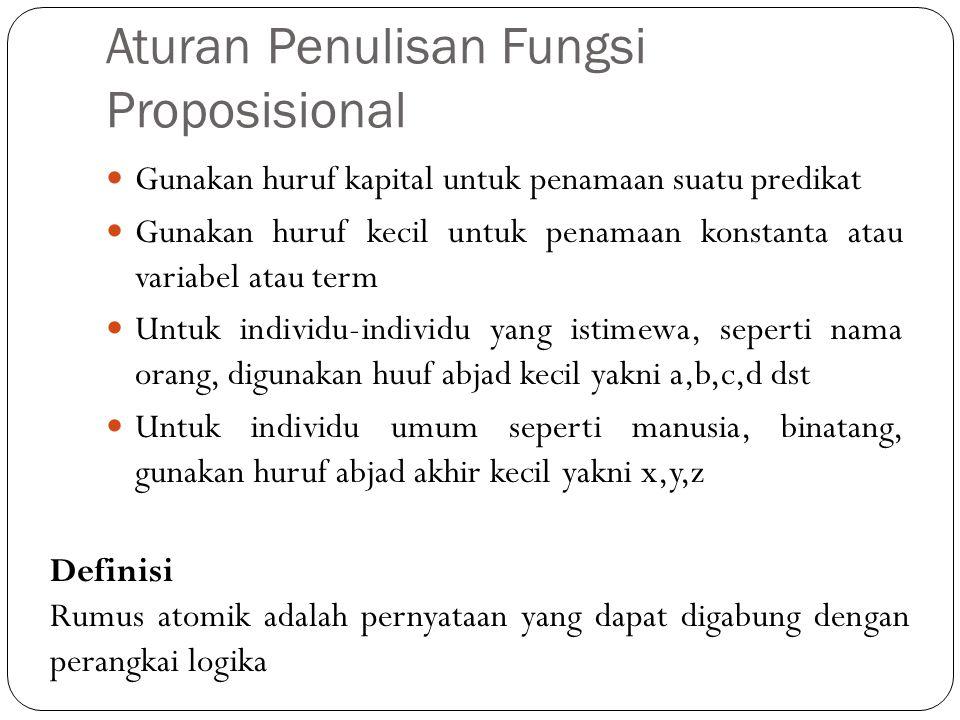 Aturan Penulisan Fungsi Proposisional Gunakan huruf kapital untuk penamaan suatu predikat Gunakan huruf kecil untuk penamaan konstanta atau variabel a