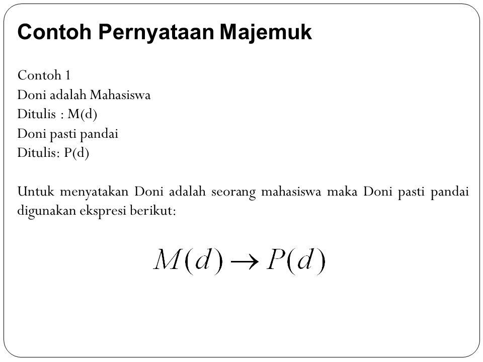 Contoh Pernyataan Majemuk Contoh 1 Doni adalah Mahasiswa Ditulis : M(d) Doni pasti pandai Ditulis: P(d) Untuk menyatakan Doni adalah seorang mahasiswa