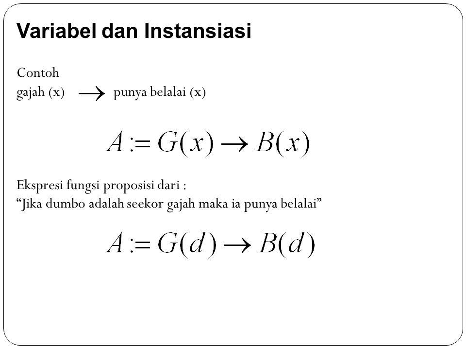 """Variabel dan Instansiasi Contoh gajah (x) punya belalai (x) Ekspresi fungsi proposisi dari : """"Jika dumbo adalah seekor gajah maka ia punya belalai"""""""