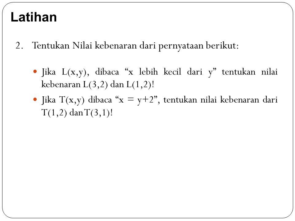 """Jika L(x,y), dibaca """"x lebih kecil dari y"""" tentukan nilai kebenaran L(3,2) dan L(1,2)! Jika T(x,y) dibaca """"x = y+2"""", tentukan nilai kebenaran dari T(1"""