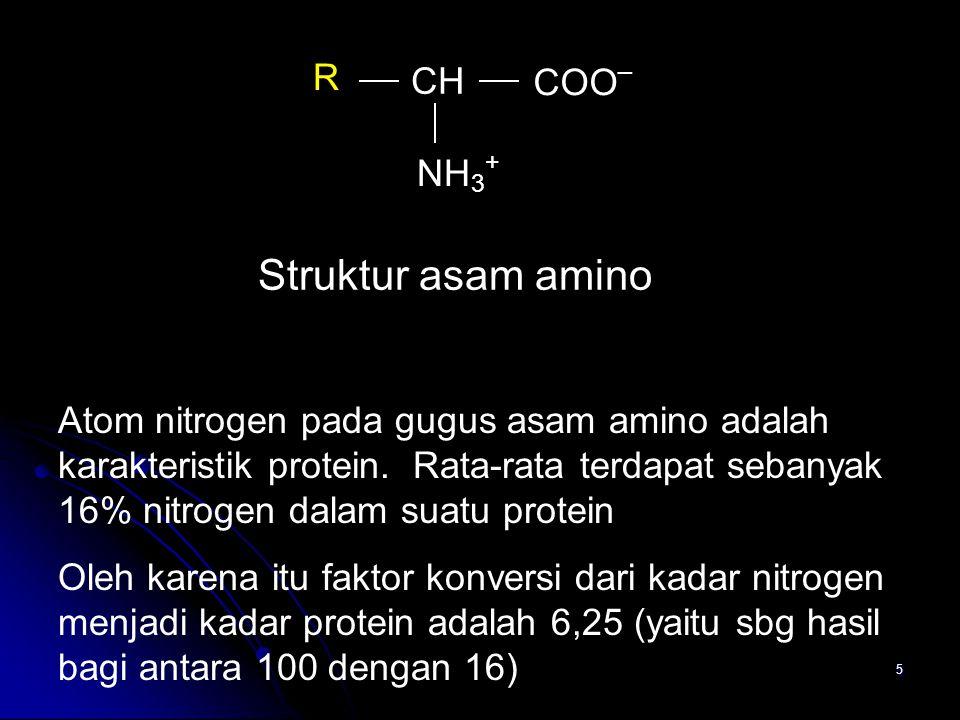 5 CH COO _ NH 3 + R Struktur asam amino Atom nitrogen pada gugus asam amino adalah karakteristik protein. Rata-rata terdapat sebanyak 16% nitrogen dal
