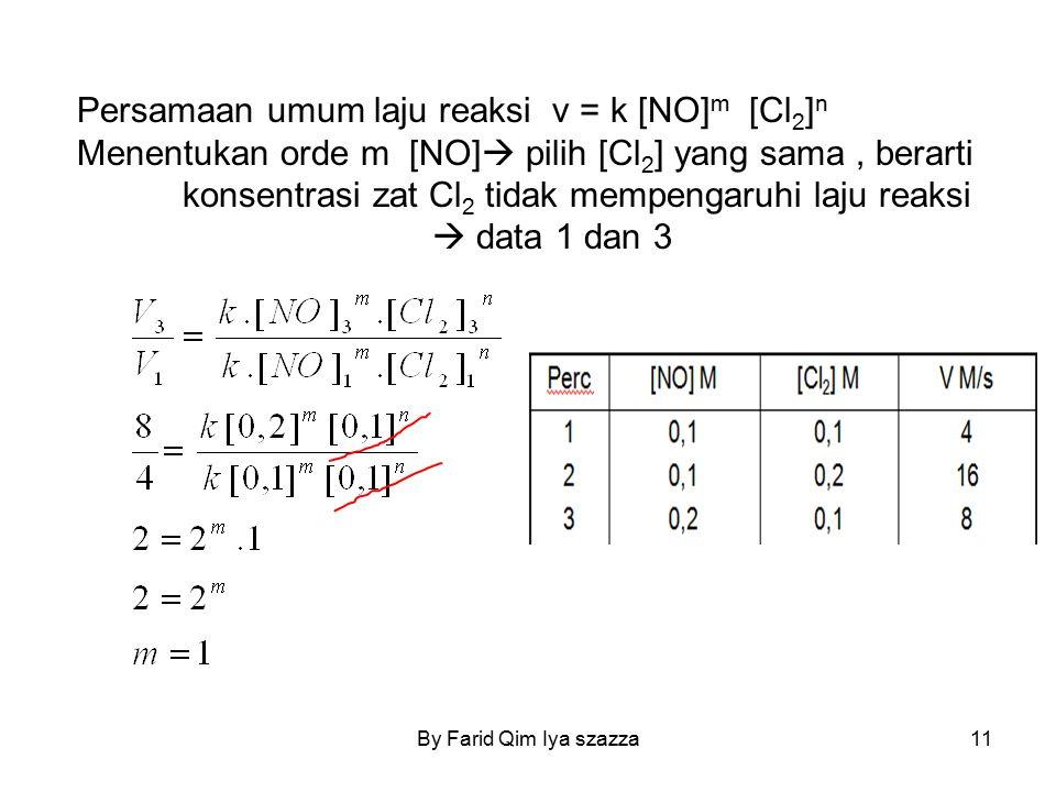 Persamaan umum laju reaksi v = k [NO] m [Cl 2 ] n Menentukan orde m [NO]  pilih [Cl 2 ] yang sama, berarti konsentrasi zat Cl 2 tidak mempengaruhi la