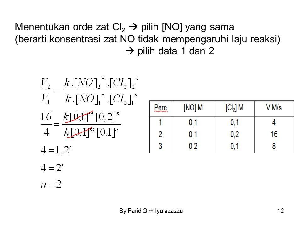 Menentukan orde zat Cl 2  pilih [NO] yang sama (berarti konsentrasi zat NO tidak mempengaruhi laju reaksi)  pilih data 1 dan 2 12By Farid Qim Iya sz