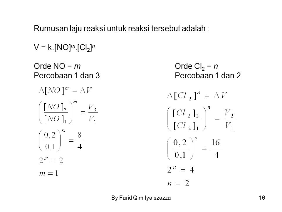 Rumusan laju reaksi untuk reaksi tersebut adalah : V = k.[NO] m.[Cl 2 ] n Orde NO = mOrde Cl 2 = n Percobaan 1 dan 3Percobaan 1 dan 2 16By Farid Qim I