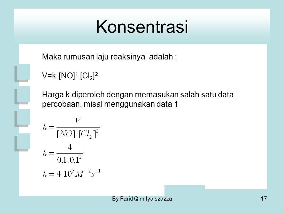Konsentrasi Maka rumusan laju reaksinya adalah : V=k.[NO] 1.[Cl 2 ] 2 Harga k diperoleh dengan memasukan salah satu data percobaan, misal menggunakan