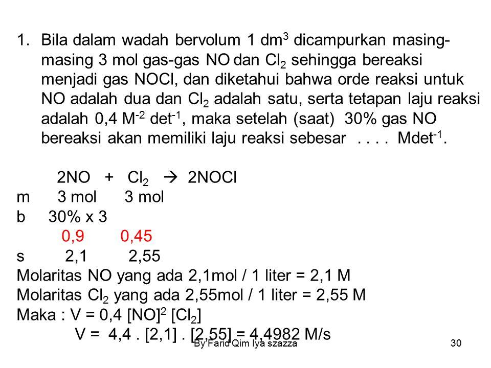 By Farid Qim Iya szazza30 1.Bila dalam wadah bervolum 1 dm 3 dicampurkan masing- masing 3 mol gas-gas NO dan Cl 2 sehingga bereaksi menjadi gas NOCl,