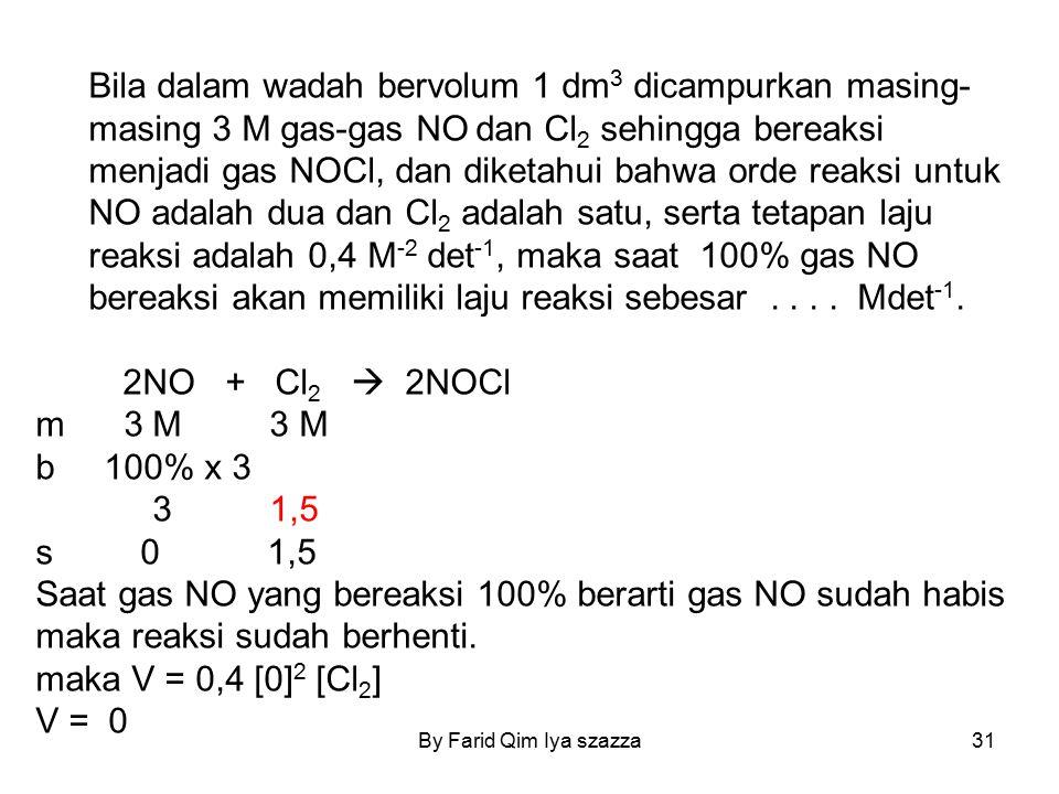 By Farid Qim Iya szazza31 Bila dalam wadah bervolum 1 dm 3 dicampurkan masing- masing 3 M gas-gas NO dan Cl 2 sehingga bereaksi menjadi gas NOCl, dan