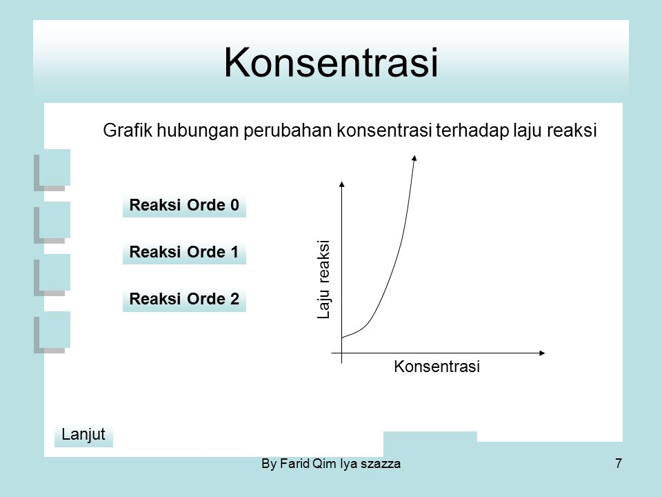 Konsentrasi Untuk reaksi A + B  C Rumusan laju reaksi adalah : V =k.[A] m.[B] n Dimana : k = tetapan laju reaksi m = orde reaksi untuk A n = orde reaksi untuk B Orde reakasi total = m + n 8By Farid Qim Iya szazza