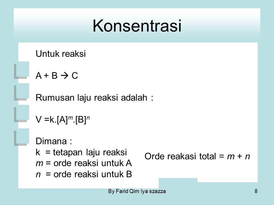 Konsentrasi Untuk reaksi A + B  C Rumusan laju reaksi adalah : V =k.[A] m.[B] n Dimana : k = tetapan laju reaksi m = orde reaksi untuk A n = orde rea