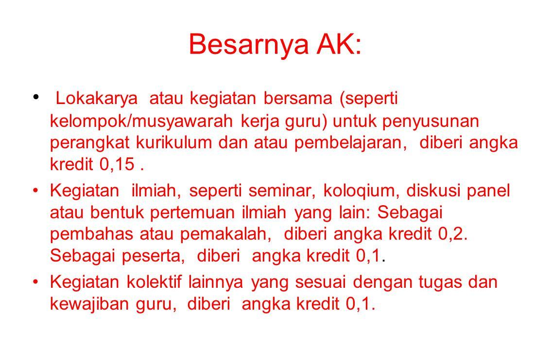 Besarnya AK: Lokakarya atau kegiatan bersama (seperti kelompok/musyawarah kerja guru) untuk penyusunan perangkat kurikulum dan atau pembelajaran, dibe