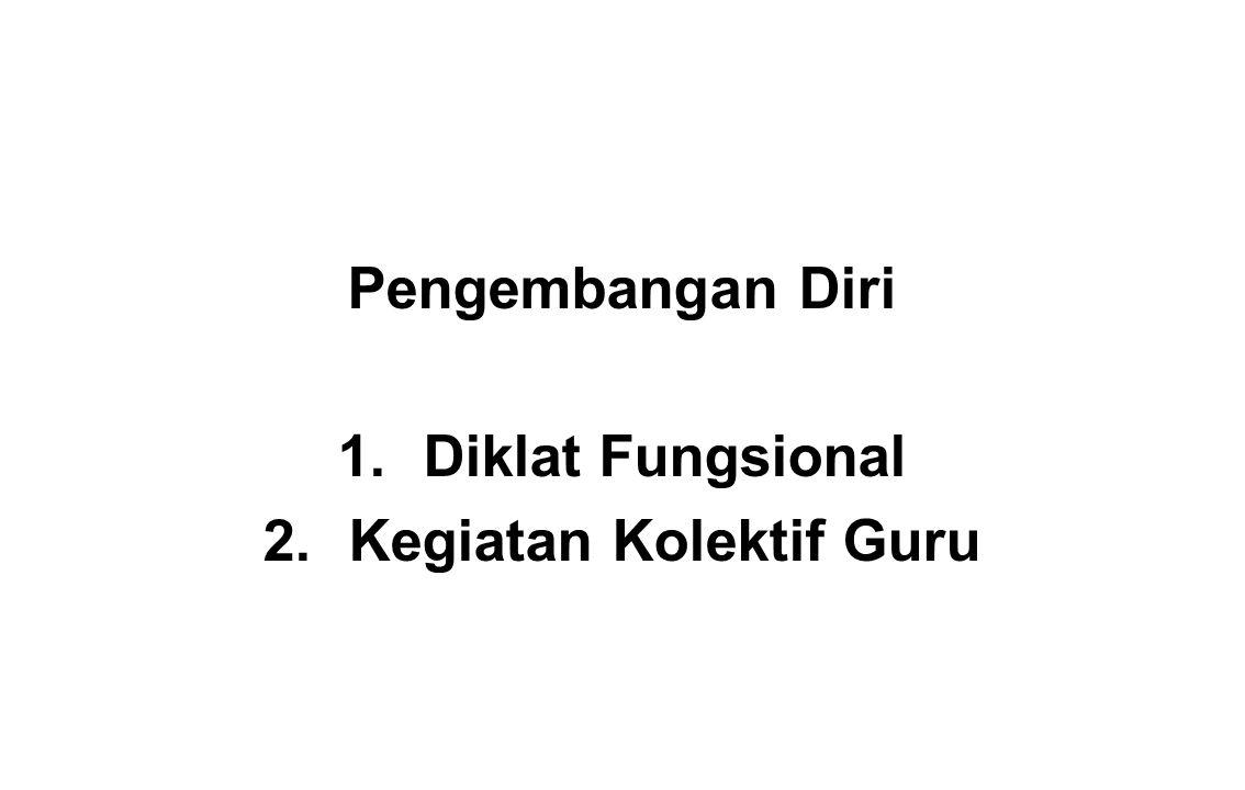 Pengembangan Diri 1.Diklat Fungsional 2.Kegiatan Kolektif Guru