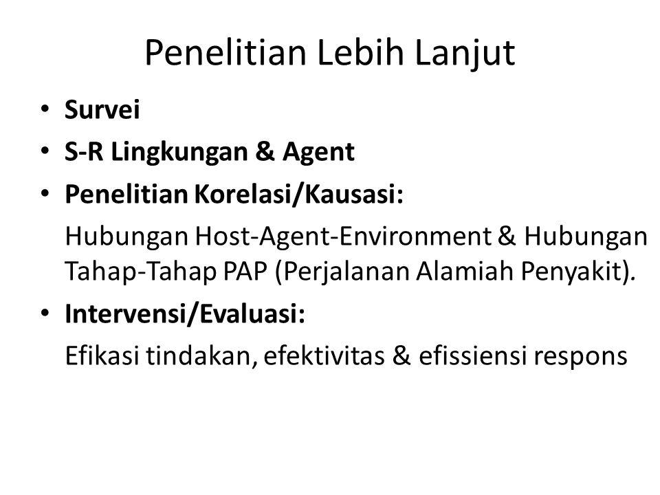 Penelitian Lebih Lanjut Survei S-R Lingkungan & Agent Penelitian Korelasi/Kausasi: Hubungan Host-Agent-Environment & Hubungan Tahap-Tahap PAP (Perjalanan Alamiah Penyakit).