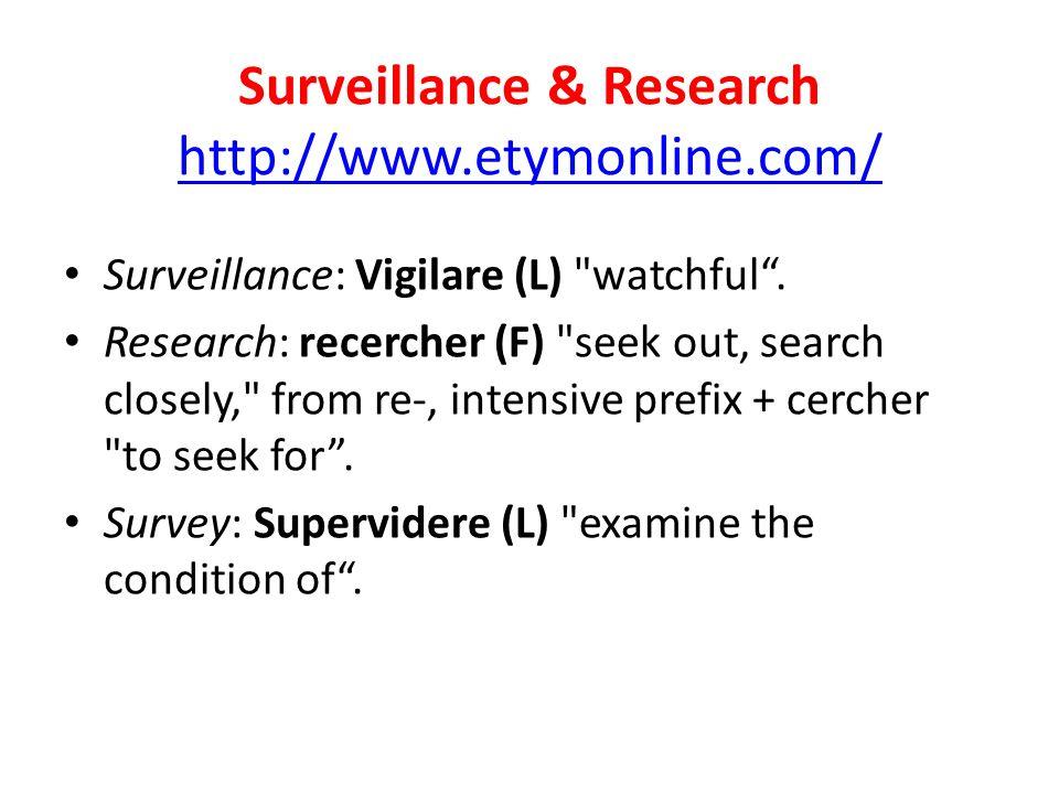 Surveillance & Research http://www.etymonline.com/ http://www.etymonline.com/ Surveillance: Vigilare (L) watchful .