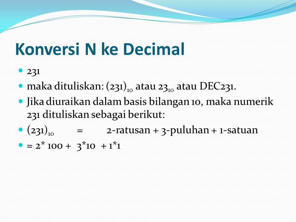 Konversi N ke Decimal 231 maka dituliskan: (231) 10 atau 23 10 atau DEC231.