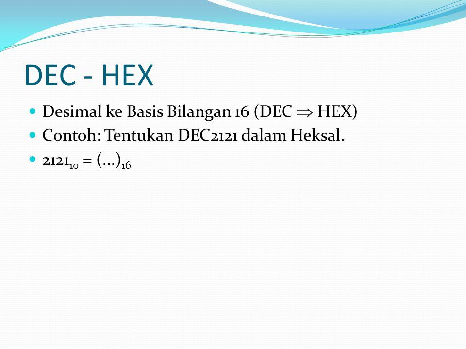 DEC - HEX Desimal ke Basis Bilangan 16 (DEC  HEX) Contoh: Tentukan DEC2121 dalam Heksal.