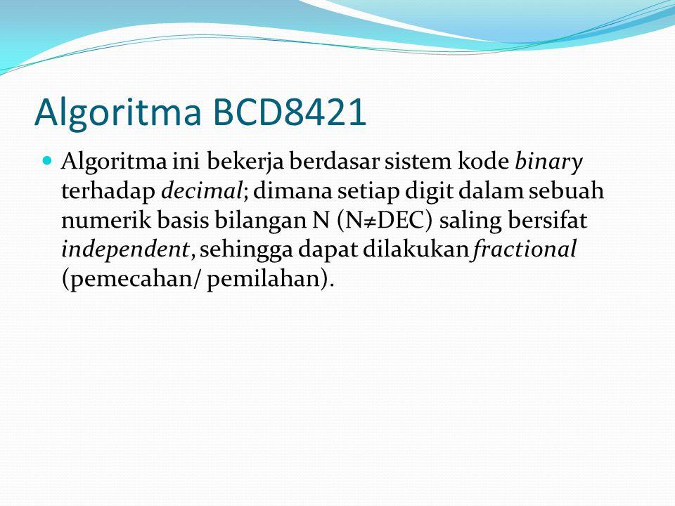 Algoritma BCD8421 Algoritma ini bekerja berdasar sistem kode binary terhadap decimal; dimana setiap digit dalam sebuah numerik basis bilangan N (N≠DEC) saling bersifat independent, sehingga dapat dilakukan fractional (pemecahan/ pemilahan).