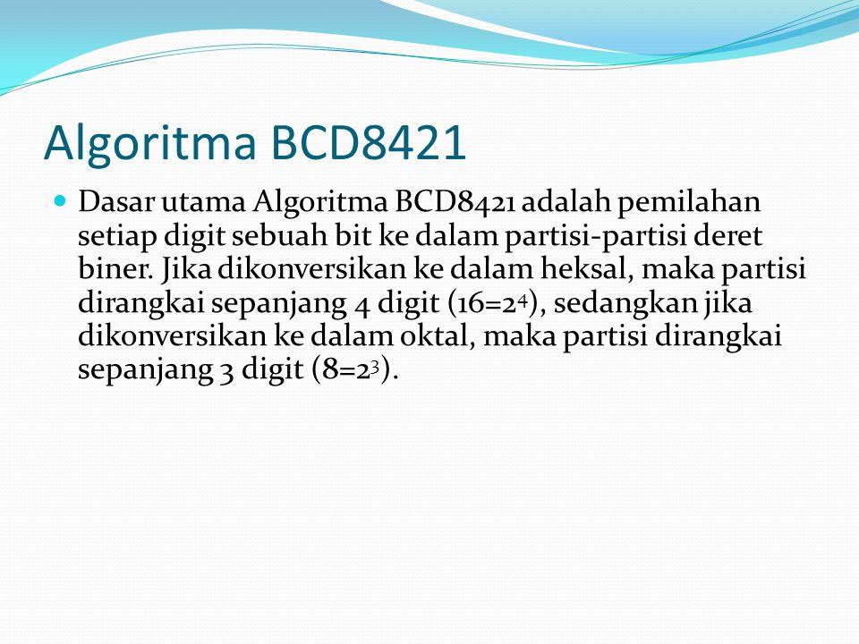 Algoritma BCD8421 Dasar utama Algoritma BCD8421 adalah pemilahan setiap digit sebuah bit ke dalam partisi-partisi deret biner.