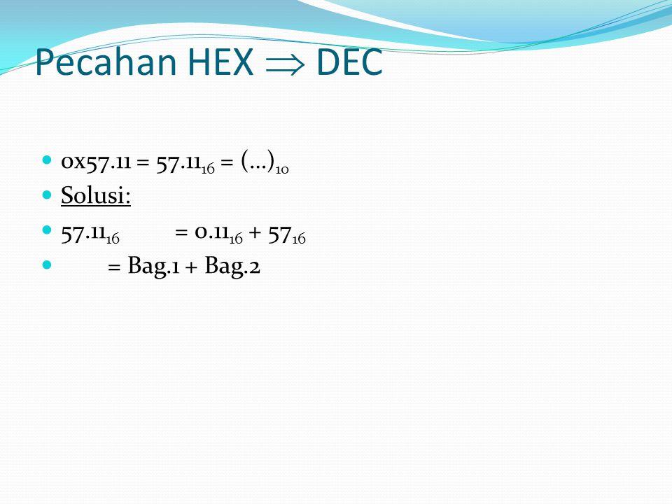 Pecahan HEX  DEC 0x57.11 = 57.11 16 = (…) 10 Solusi: 57.11 16 = 0.11 16 + 57 16 = Bag.1 + Bag.2