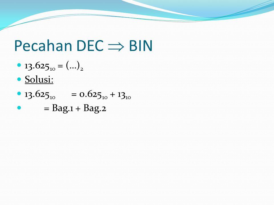 Pecahan DEC  BIN 13.625 10 = (…) 2 Solusi: 13.625 10 = 0.625 10 + 13 10 = Bag.1 + Bag.2