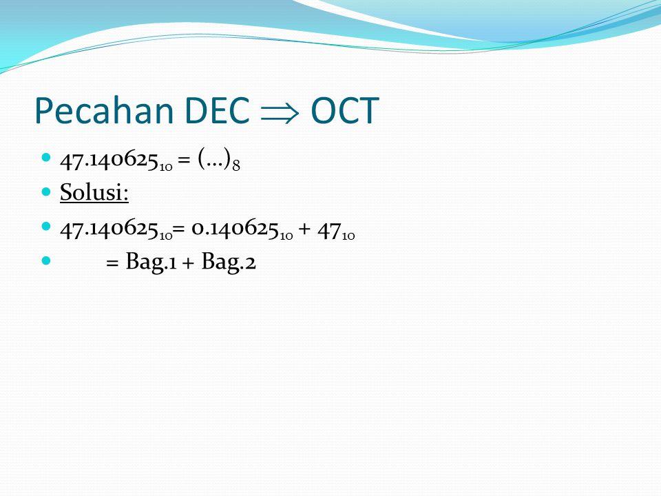Pecahan DEC  OCT 47.140625 10 = (…) 8 Solusi: 47.140625 10 = 0.140625 10 + 47 10 = Bag.1 + Bag.2