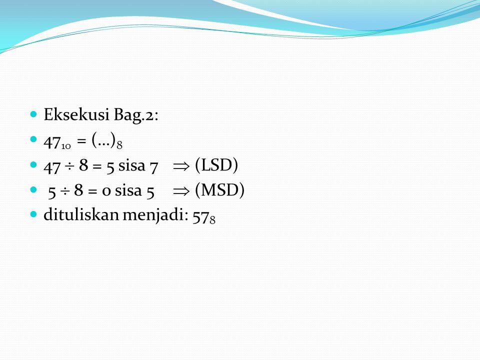 Eksekusi Bag.2: 47 10 = (…) 8 47  8 = 5 sisa 7  (LSD) 5  8 = 0 sisa 5  (MSD) dituliskan menjadi: 57 8