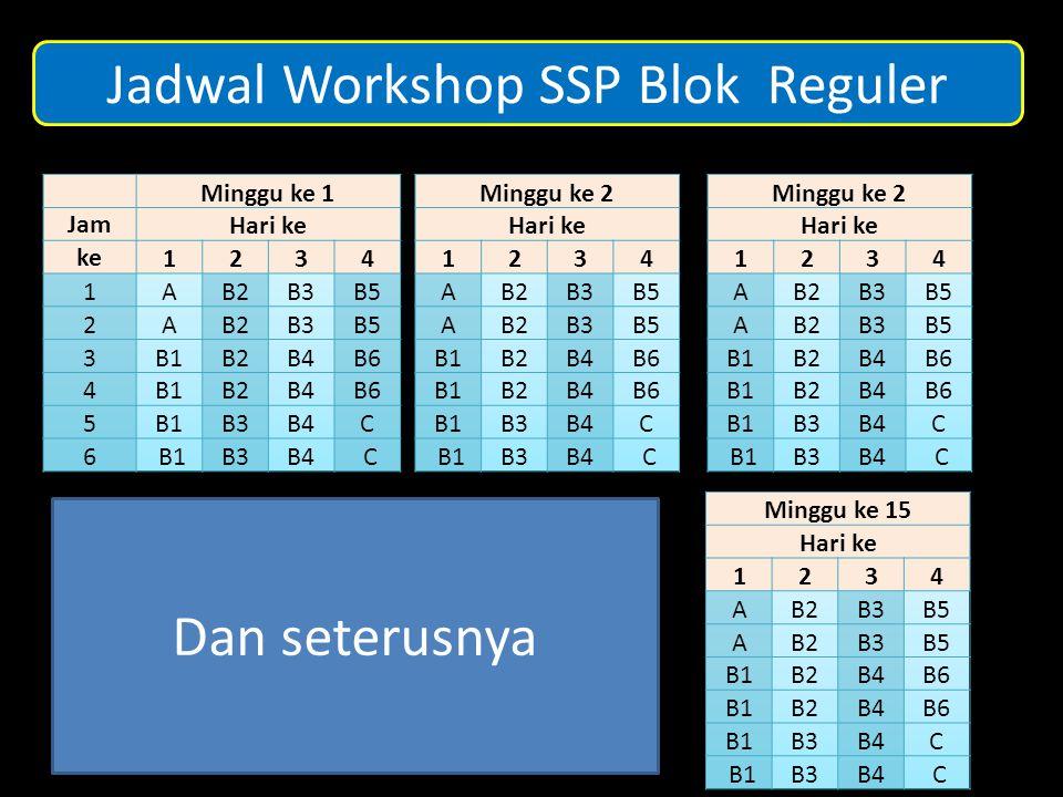 Jadwal Workshop SSP Blok Reguler Dan seterusnya
