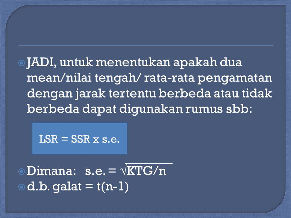  JADI, untuk menentukan apakah dua mean/nilai tengah/ rata-rata pengamatan dengan jarak tertentu berbeda atau tidak berbeda dapat digunakan rumus sbb