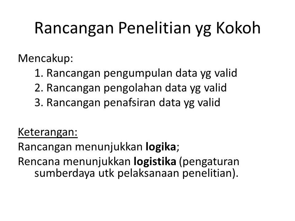 Rancangan Penelitian yg Kokoh Mencakup: 1. Rancangan pengumpulan data yg valid 2. Rancangan pengolahan data yg valid 3. Rancangan penafsiran data yg v